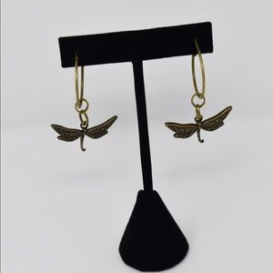 Bronze Hoop Earrings with Dragonfly Charms